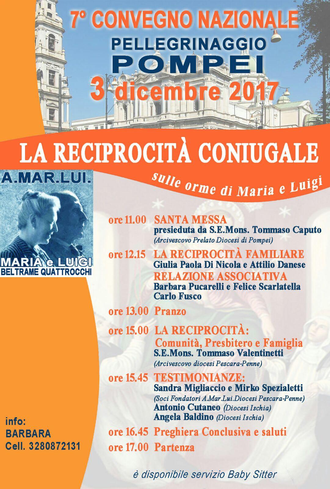 Invito per il 3 dicembre a Pompei: 7 Convegno Nazionale Pellegrinaggio  dell'Associazione AMARLUI dei Beati Luigi e Maria